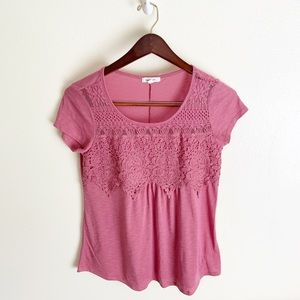 Paper Tee Mauve Pink Lace Short Sleeved Shirt